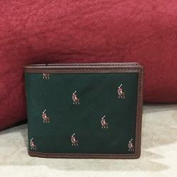 Ví Polo Ralph Lauren Silk and Leather, màu xanh lá