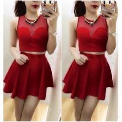 Sale: Set áo croptop chân váy xòe - Size M