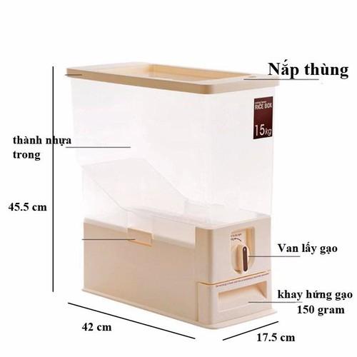 Thùng gạo thông minh 15kg - thùng đựng gạo