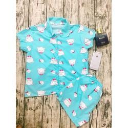 Pijama Thái Mềm Mịn Hình Thật KITTY XANH