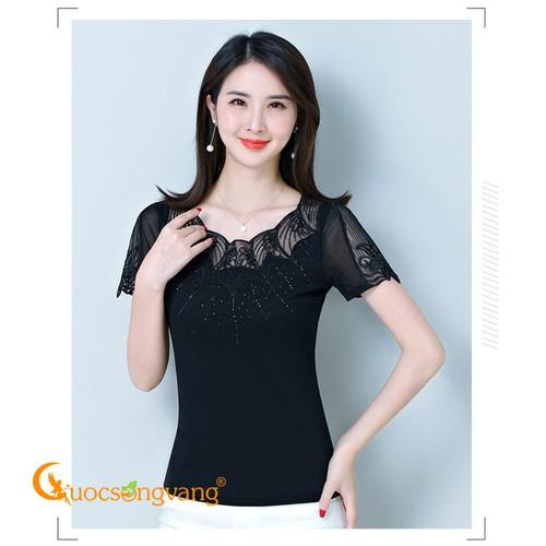 Áo thun nữ thêu ren áo kiểu đính đá ngắn tay màu đen GLA175 - 4160978 , 10306727 , 15_10306727 , 268000 , Ao-thun-nu-theu-ren-ao-kieu-dinh-da-ngan-tay-mau-den-GLA175-15_10306727 , sendo.vn , Áo thun nữ thêu ren áo kiểu đính đá ngắn tay màu đen GLA175