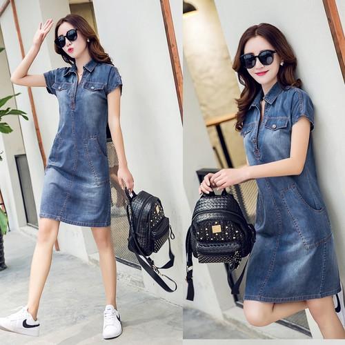 Đầm Jean nữ phối túi siêu xinh 1D1215
