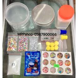 Bộ nguyên liệu làm slime như hình :tuyết ,borax,cham,keo,hộp