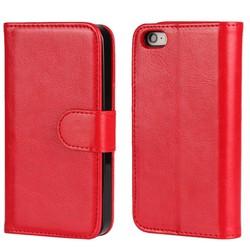 Ốp lưng giả da Tặng 1 bao điện thoại ví tiền dùng cho iPhone 7 đỏ