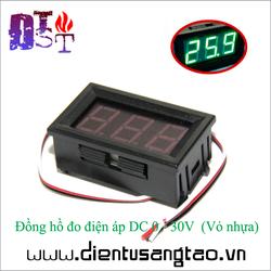 Đồng hồ đo điện áp DC 0 - 30V màu xanh lá  Vỏ nhựa