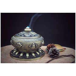 Đỉnh trầm hương Lư xông trầm hợp kim mạ đồng hoa văn cổ  ĐỒNG vàng