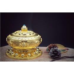 Đỉnh trầm hương Lư xông trầm hợp kim mạ đồng hoa văn cổ vàng ánh kim