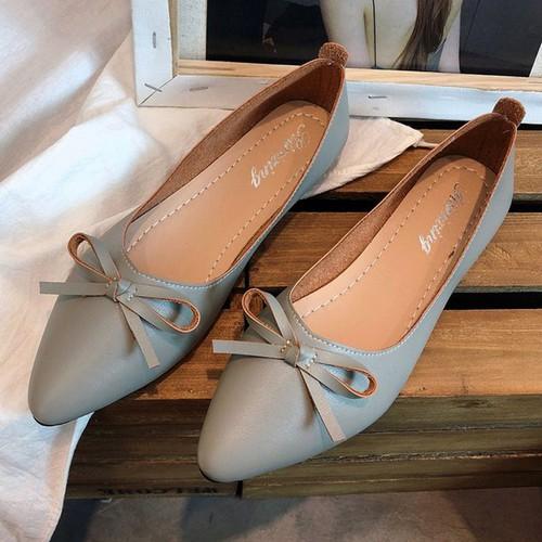 Giày búp bê mỏ nhọn da mềm có nơ xinh xắn-306