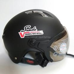 Mũ bảo hiểm nửa đầu Sunda 133 màu đen nhám cho người size đầu lớn