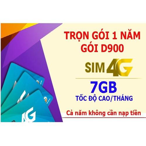 Sim Viettel 4G D900 MIỄN PHÍ 1 NĂM 84 GB K NẠP TIỀN