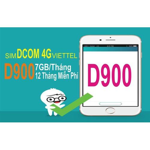 Sim 4G Viettel trọn gói 1 năm 84GB tháng D900 không cần nạp tiền