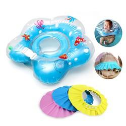 bộ phao bơi và nón chắn nước an toàn cho bé
