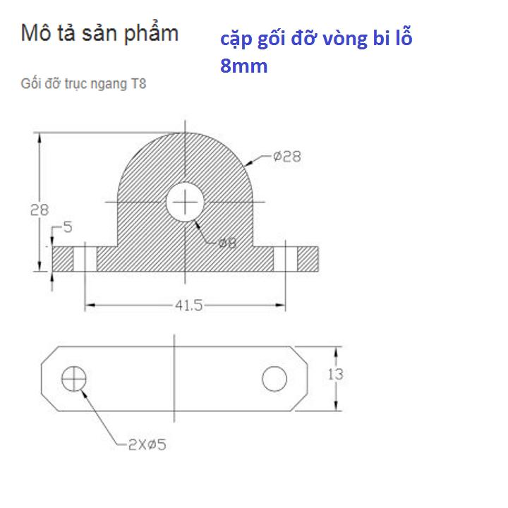 Gối Đỡ Vòng Bi Lỗ 8mm - 2 cái 3