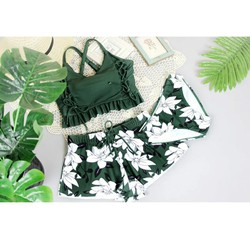 Set bikini quần hoa 3 chi tiết