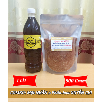 1Lít Mật ong HOA NHÃN + 500g Phấn hoa XUYẾN CHI