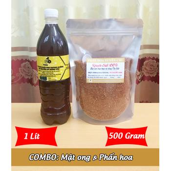 1Lít Mật ong nguyên chất + 500g Phấn hoa mật ong