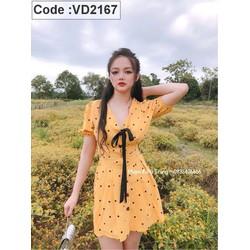 Đầm suông chấm bi thắt nơ đen tay con VD2167