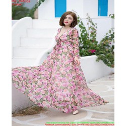 Đầm maxi dự tiệc xẻ cổ V vải voan hoa xinh đẹp DMC62