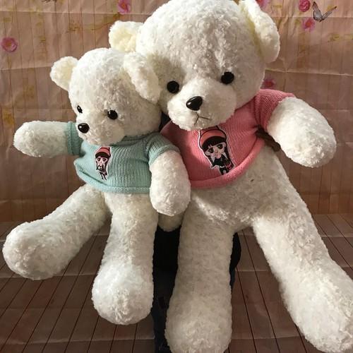 Gấu bông mặc áo len thêu hình bé gái 80cm
