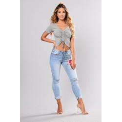 Quần jeans nữ thêu hoa hồng LA FASHION