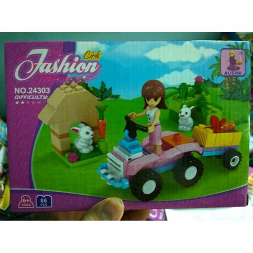 đồ chơi lắp ráp thông minh non-lego ausini 24303 khu vườn nuôi thỏ
