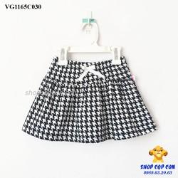 8-26kg Chân váy xòe caro trắng đen - có quần bên trong