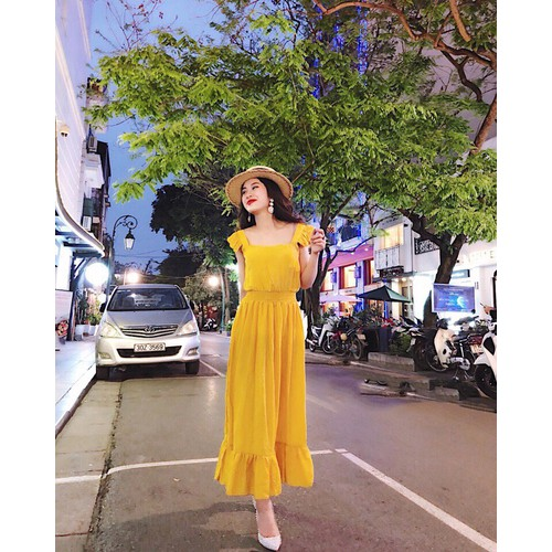 Đầm Maxi Eo Nhún Thun Đuôi Cá