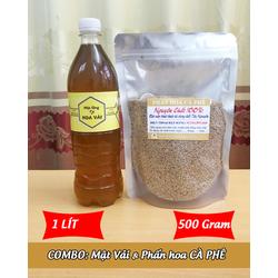 1Lít Mật ong HOA VẢI + 500g Phấn hoa CÀ PHÊ