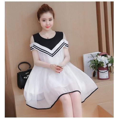 Đầm hở vai đen trắng