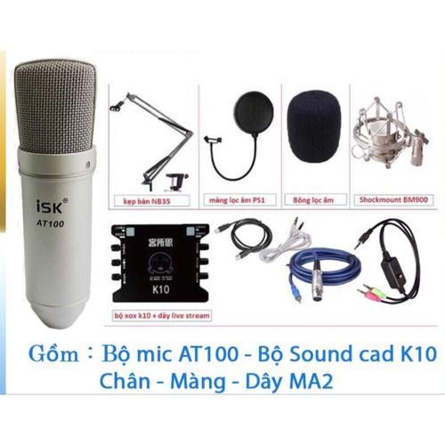 combo mic isk at100 và suond card k10