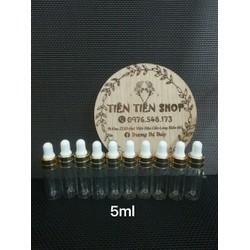 Combo 10 chai thuỷ tinh trong 5ml đầu bóp