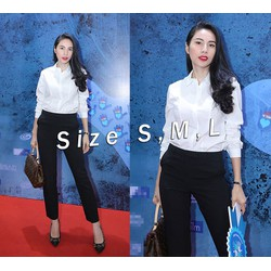 Sơ mi trắng tay dài đơn giản  giống Thủy Tiên - Size S, M, L