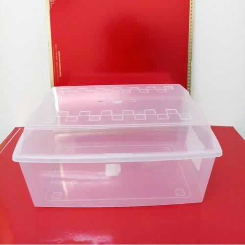 2 hộp nhựa đựng đồ trong suốt có nắp, hình thang cỡ giấy photo A4 k967
