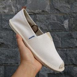 Slip on nam - Giày lười vải nam cao cấp - Vải bố màu be - Mã 2905