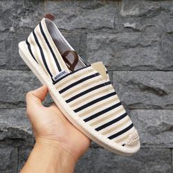Slip on nam - Giày lười vải nam - Vải bố sọc vàng-đen - Mã 2906