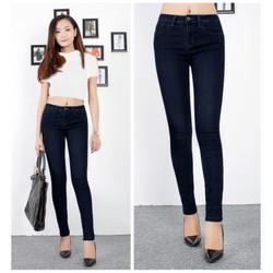 Quần jean lưng cao 1 nút xanh đen đơn giản
