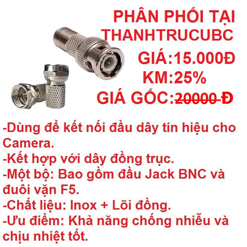 Đầu nối tín hiệu camera BNC + Jack F5 - 4230920 , 10401471 , 15_10401471 , 15000 , Dau-noi-tin-hieu-camera-BNC-Jack-F5-15_10401471 , sendo.vn , Đầu nối tín hiệu camera BNC + Jack F5