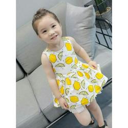 Váy xòe họa tiết chanh hở lưng hàng Quảng Châu
