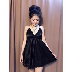 Đầm pizama phi bóng 2 dây kèm quần-Shop LucyLucy353