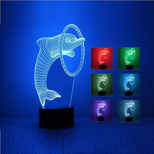 Đèn ngủ 3D, đèn ngủ cá heo 7 màu cao cấp