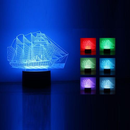 Đèn ngủ 3D, đèn ngủ tàu biển 7 màu, Cướp biển vùng Caribbe