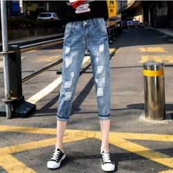 Quần Jeans Lửng Nữ Rách Bụi Bẩm Quá Ngầu Kiểu Hàn Quốc