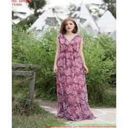 Đầm maxi dự tiệc xẻ cổ V vải voan hoa hồng xinh xắnDMC78