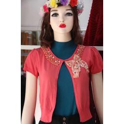 Áo khoác lửng- màu đỏ cam- kết cườm 1
