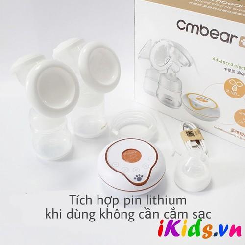 Máy hút sữa điện đôi Cmbear có chức năng massage, có pin tích hợp