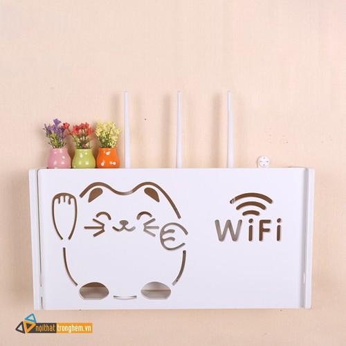 Kệ wifi, hộp wifi mèo thần tài treo tường TẶNG kèm 3 móc treo tường