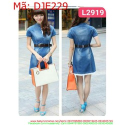 Đầm jean  nữ hàng quảng châu viền ren trắng thời trang DJE 229