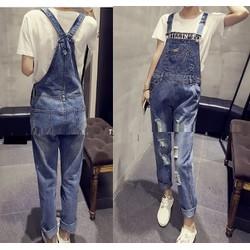Quần yếm jeans was rách lưng yếm
