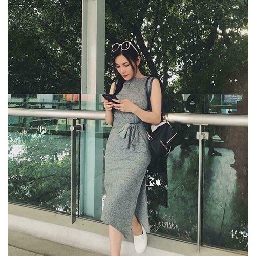 Đầm len xẻ thái lan