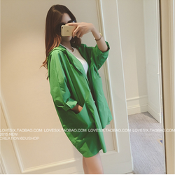 Áo khoác nữ vải dù xanh lá form dài rộng kiểu dáng xu hướng mới